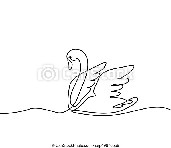swan logo one line drawing vector