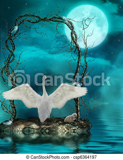Swans By Moonlight >> Swans In The Moonlight 3d Render
