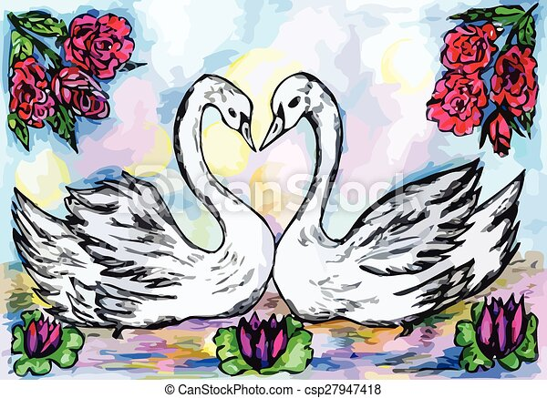 Swans in the Pond Sketch - csp27947418