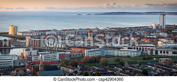 Swansea city panorama - csp42904360