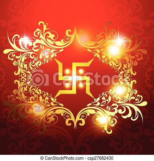 Swastik Symbol On Beautiful Artistic Background Vectors Search