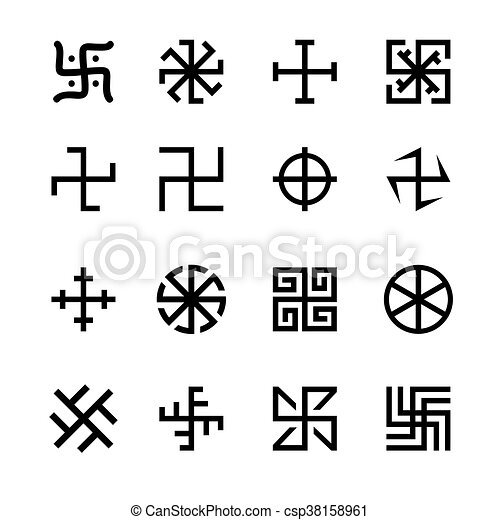 Swastika Cross And Others Symbols Icons Vector Set