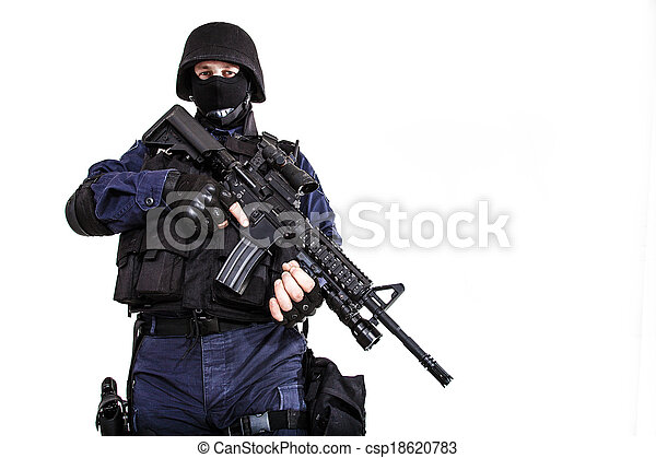 Swat officer. Special weapons and tactics (swat) team officer with ...