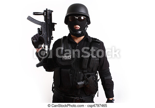 swat police officer stock images with assault gun search shot 17 times