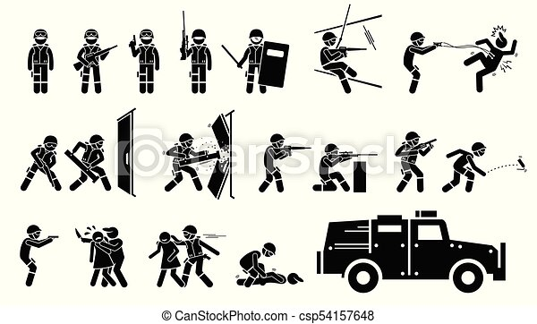 Swat Special Weapons And Tactics Icons Stickman Pictogram Set