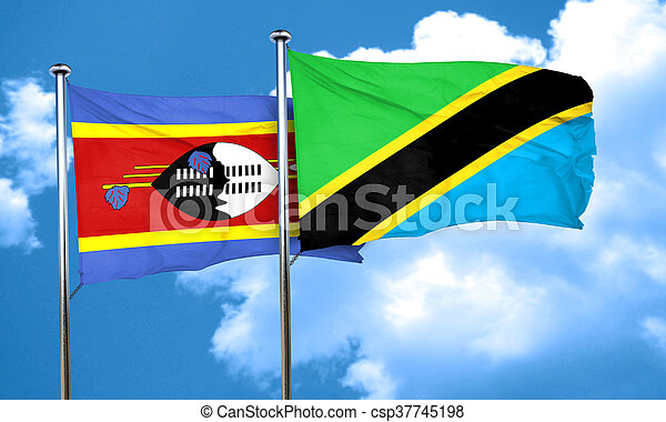 Swaziland flag with Tanzania flag, 3D rendering - csp37745198