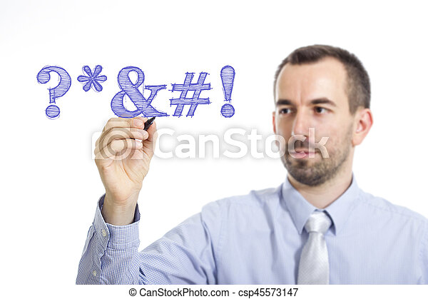 Swearing - Young businessman writing blue text on transparent surface - csp45573147