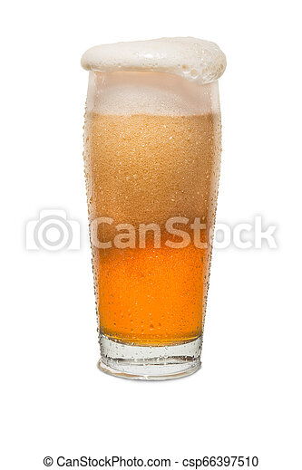 Sweated Craft Pub Beer Glass Overflowing with Beer #1 - csp66397510