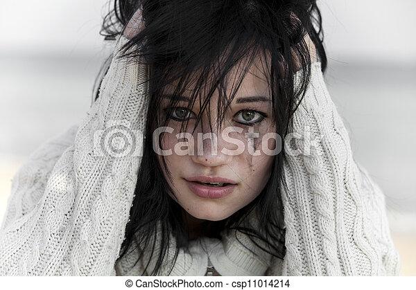 sweater., girl, triste - csp11014214