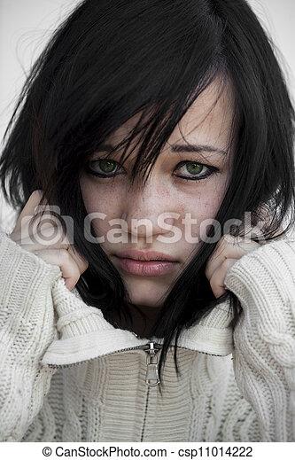 sweater., girl, triste - csp11014222