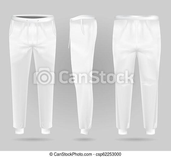 Pantalones deportivos blancos. Los pantalones deportivos diseñan plantilla. - csp62253000