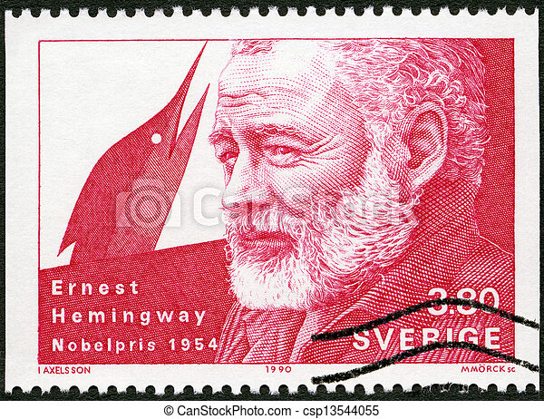 SWEDEN - CIRCA 1990: A stamp printed in the Sweden shows Ernest Hemingway, Nobel Laureate in Literature, 1954, circa 1990 - csp13544055