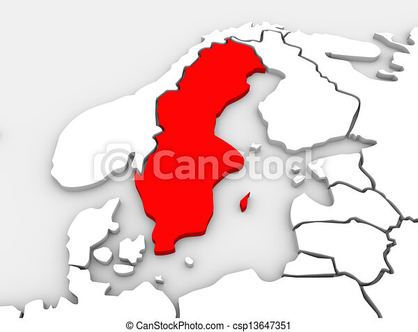 Sweden Country Map 3d Illustrated Northern Europe Continent - csp13647351