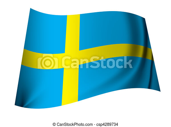 Sweden Flag Single Swedish Flag Icon In Blue And Yellow Eps