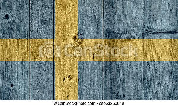 Sweden Flag Wooden Fence - csp63250649