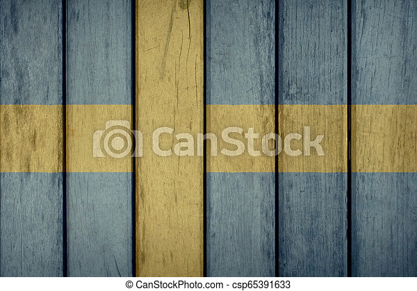 Sweden Flag Wooden Fence - csp65391633