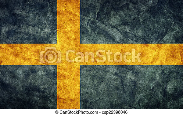 Sweden grunge flag. Item from my vintage, retro flags collection - csp22398046