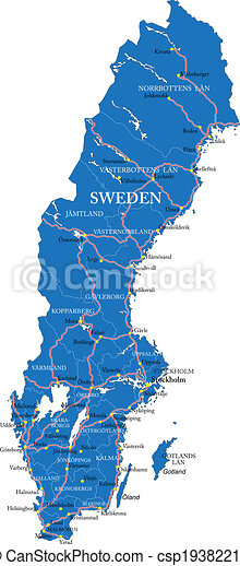 Vector Clip Art Of Sweden Map Highly Detailed Vector Map Of - Sweden map clipart