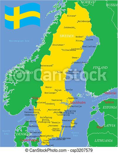 Sweden map with major cities. - csp3207579