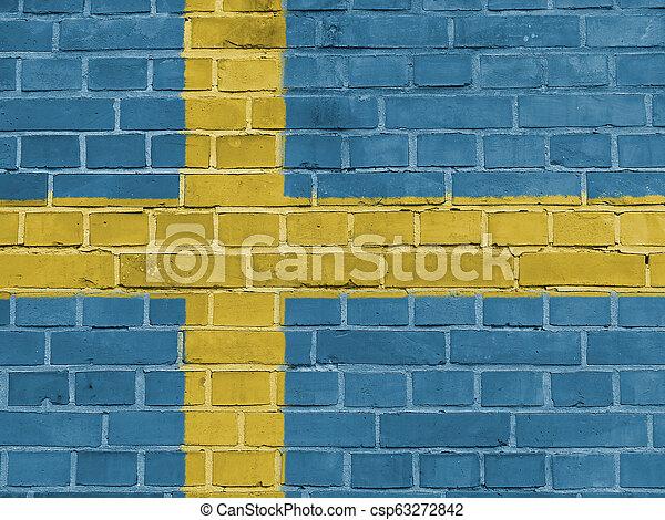 Sweden Politics Concept: Swedish Flag Wall - csp63272842
