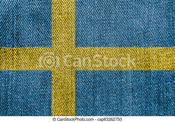 Sweden Textile Industry Or Politics Concept: Swedish Flag Denim Jeans - csp63262750