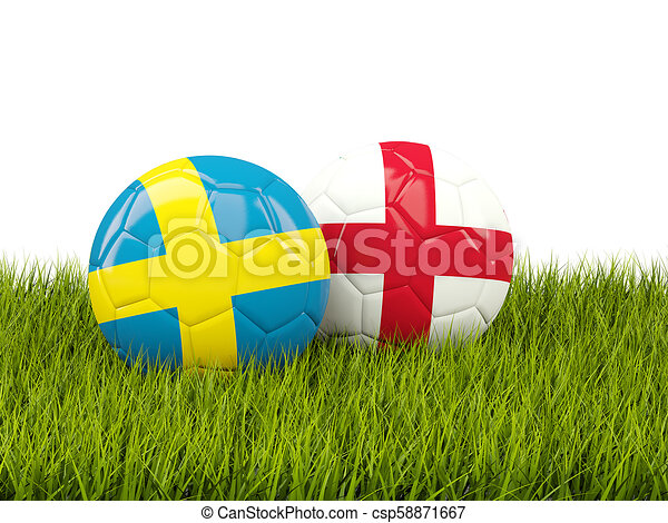 Sweden vs England. Soccer concept. Footballs with flags on green grass - csp58871667