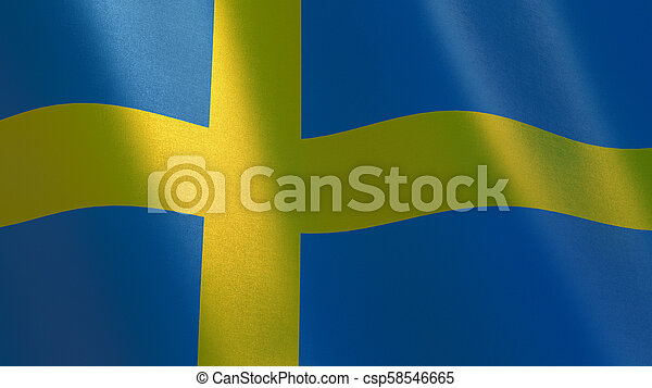 Sweden waving flag. 3d illustration - csp58546665