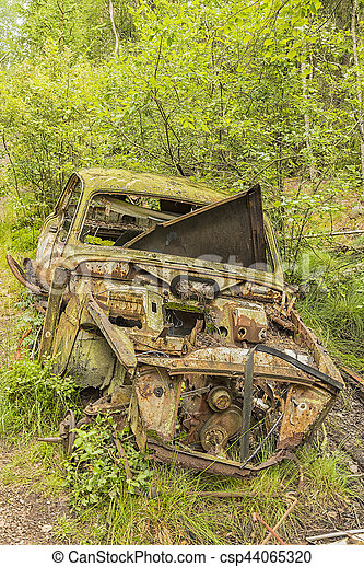 Swedish Car Graveyard - csp44065320