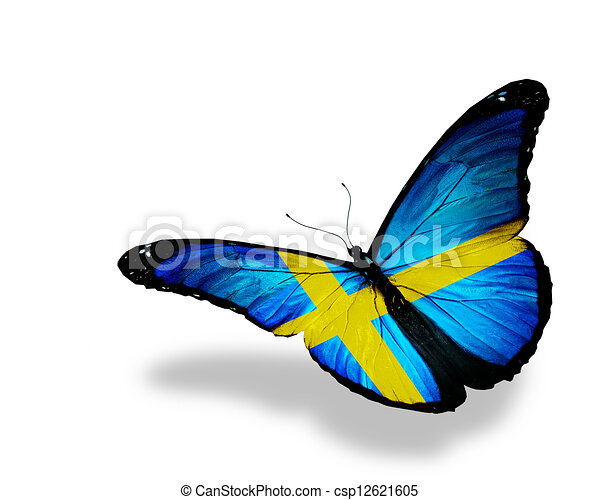 Swedish flag butterfly flying, isolated on white background - csp12621605