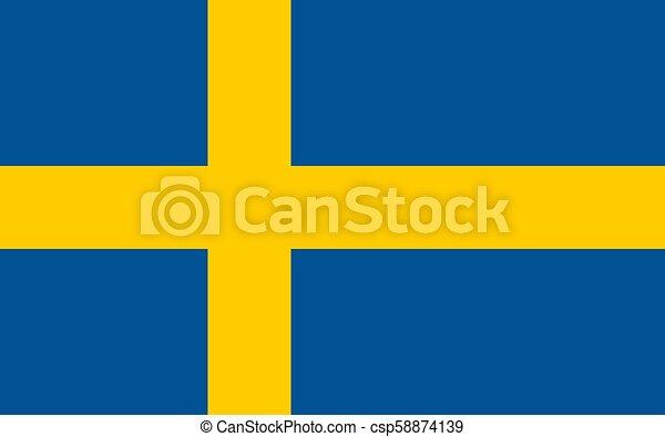 Swedish flag, flat layout, vector illustration - csp58874139