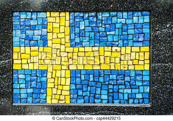 Swedish flag made of little mosaic tiles - csp44429215