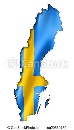 Stock Illustration Of Swedish Flag Map Sweden Flag Map Three - Sweden map clipart