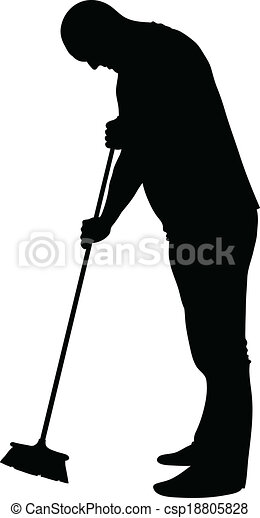 Sweeping Man - csp18805828