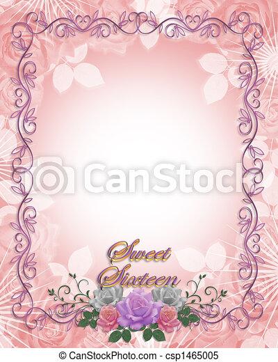 Sweet 16 birthday invitation roses image and illustration sweet 16 birthday invitation roses csp1465005 filmwisefo