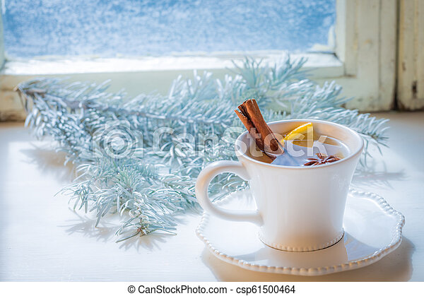Sweet and aromatic tea with cinnamon for Christmas - csp61500464