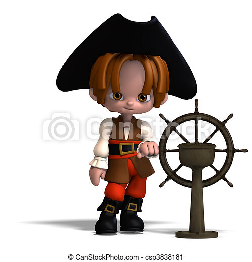 sweet and funny cartoon pirate with hat. 3D rendering and shadow over white - csp3838181