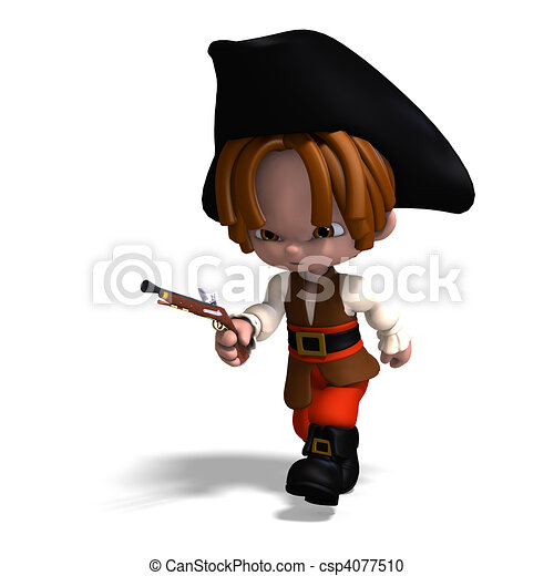 sweet and funny cartoon pirate with hat. 3D rendering and shadow over white - csp4077510