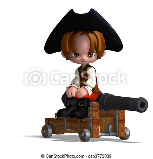 sweet and funny cartoon pirate with hat. 3D rendering and shadow over white - csp3773039