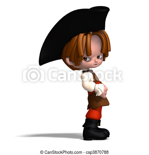 sweet and funny cartoon pirate with hat. 3D rendering and shadow over white - csp3870788