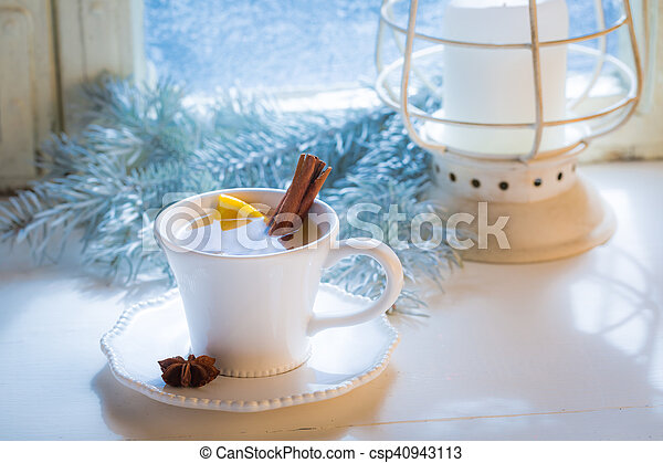 Sweet and hot tea with cinnamon for Christmas - csp40943113