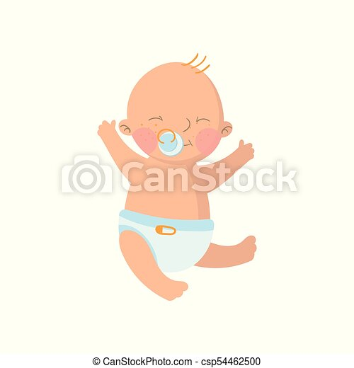 sweet baby boy in diaper with pacifier cartoon vector illustration