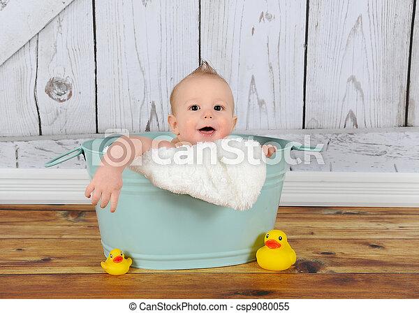Sweet baby boy playing in washtub. Sweet baby boy playing... stock ...