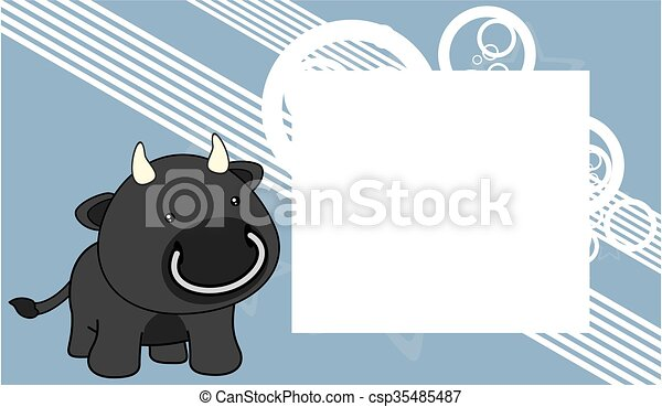 Sweet baby bull cartoon frame card. Sweet baby bull cartoon frame ...