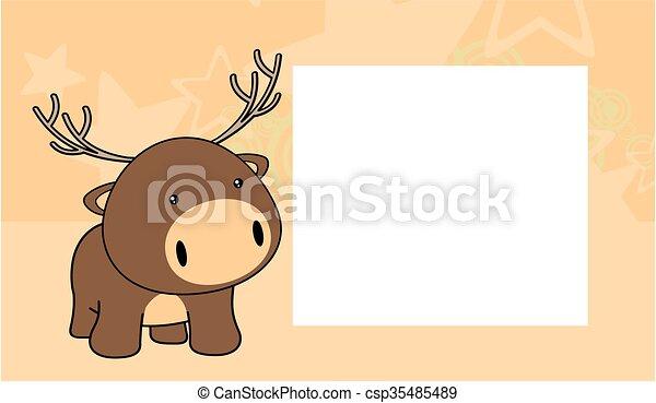 Sweet baby deer cartoon frame card. Sweet baby deer cartoon frame ...