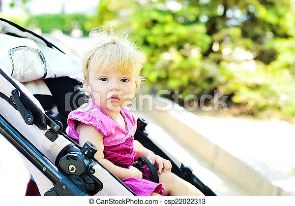 sweet baby in stroller - csp22022313