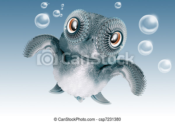 Sweet Baby Sea Turtle Cute Cartoon Sea Turtle Swimming With