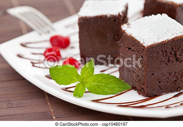 sweet brownies or chocolate cakes - csp10460197