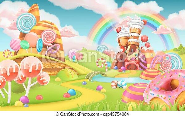 Sweet candy land. Cartoon game background. 3d illustration - csp43754084