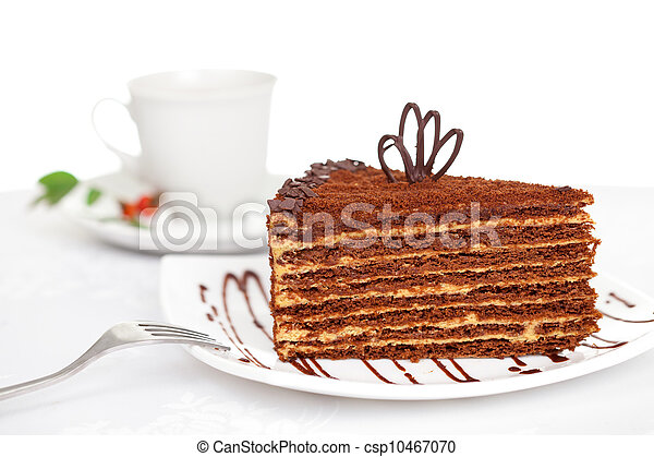 sweet chocolate cake on table - csp10467070