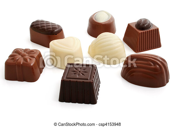 sweet chocolate candies group isolated - csp4153948